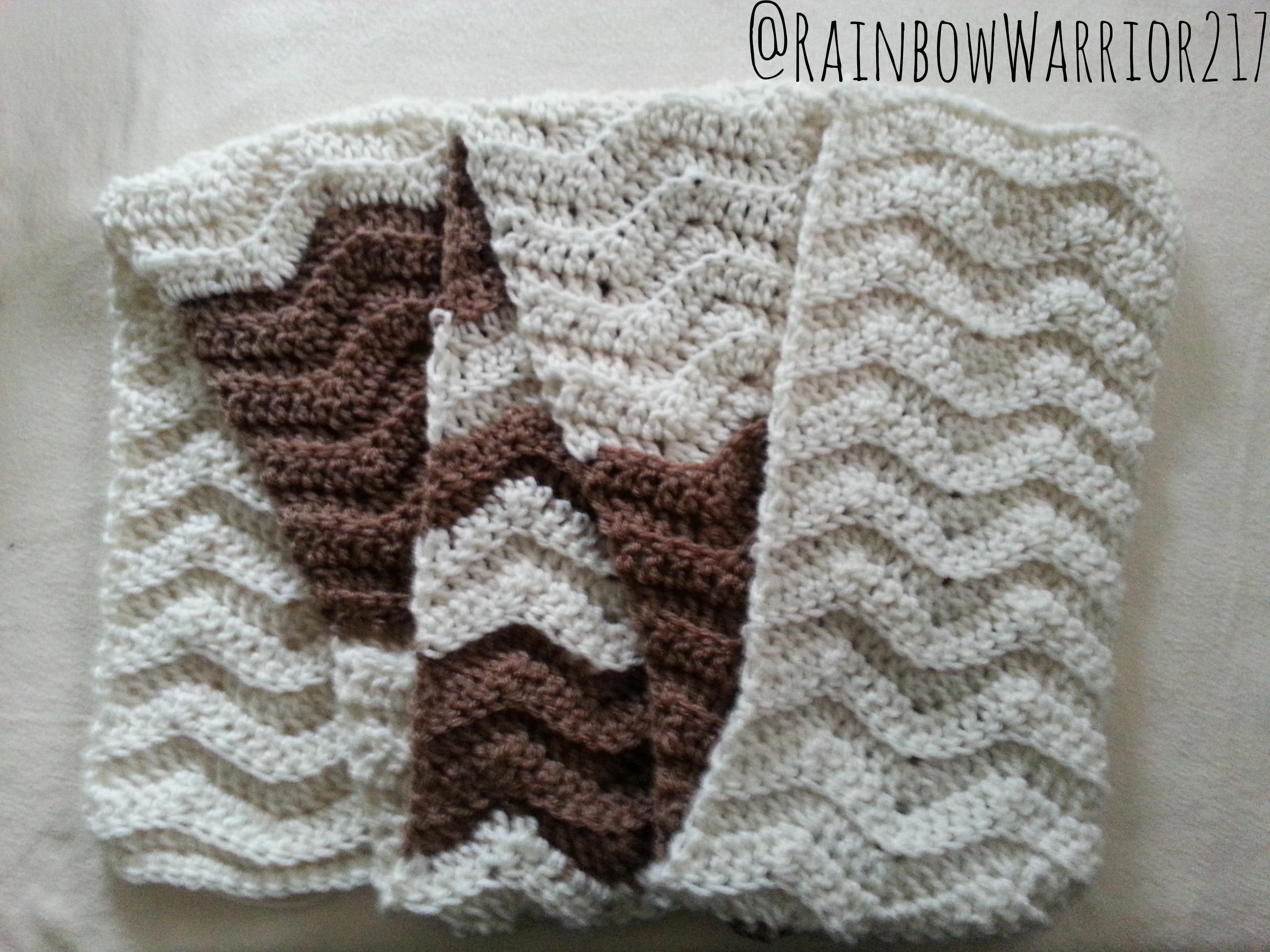 2 Tone Chevron Scarf Crochet Pattern Rainbow Warrior