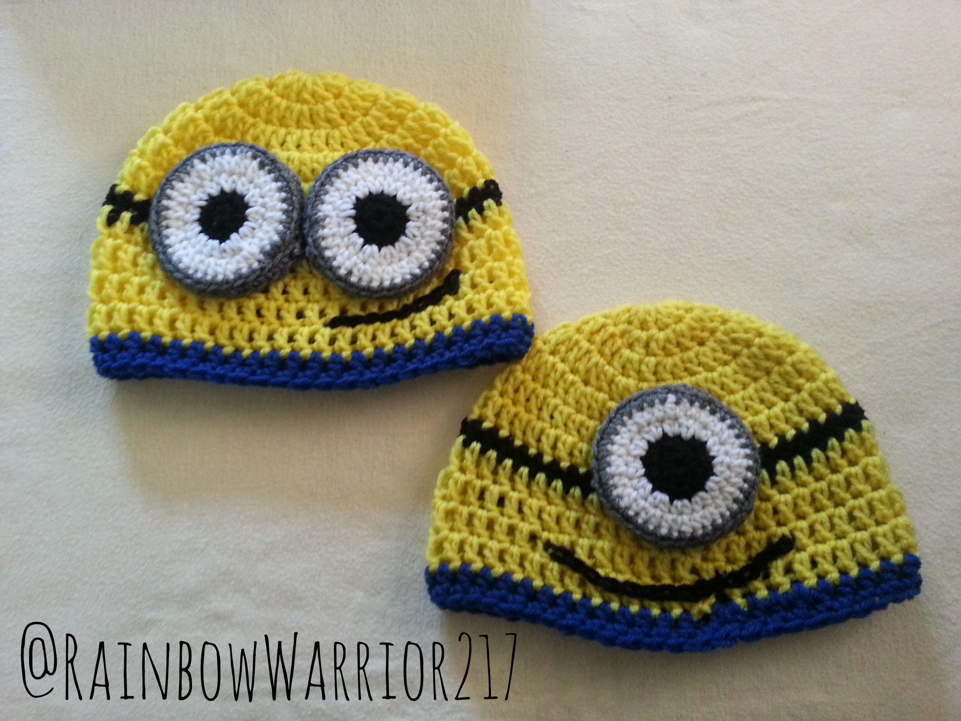 Free Crochet Pattern Minion Beanie : Minion Beanie Crochet Pattern Rainbow Warrior