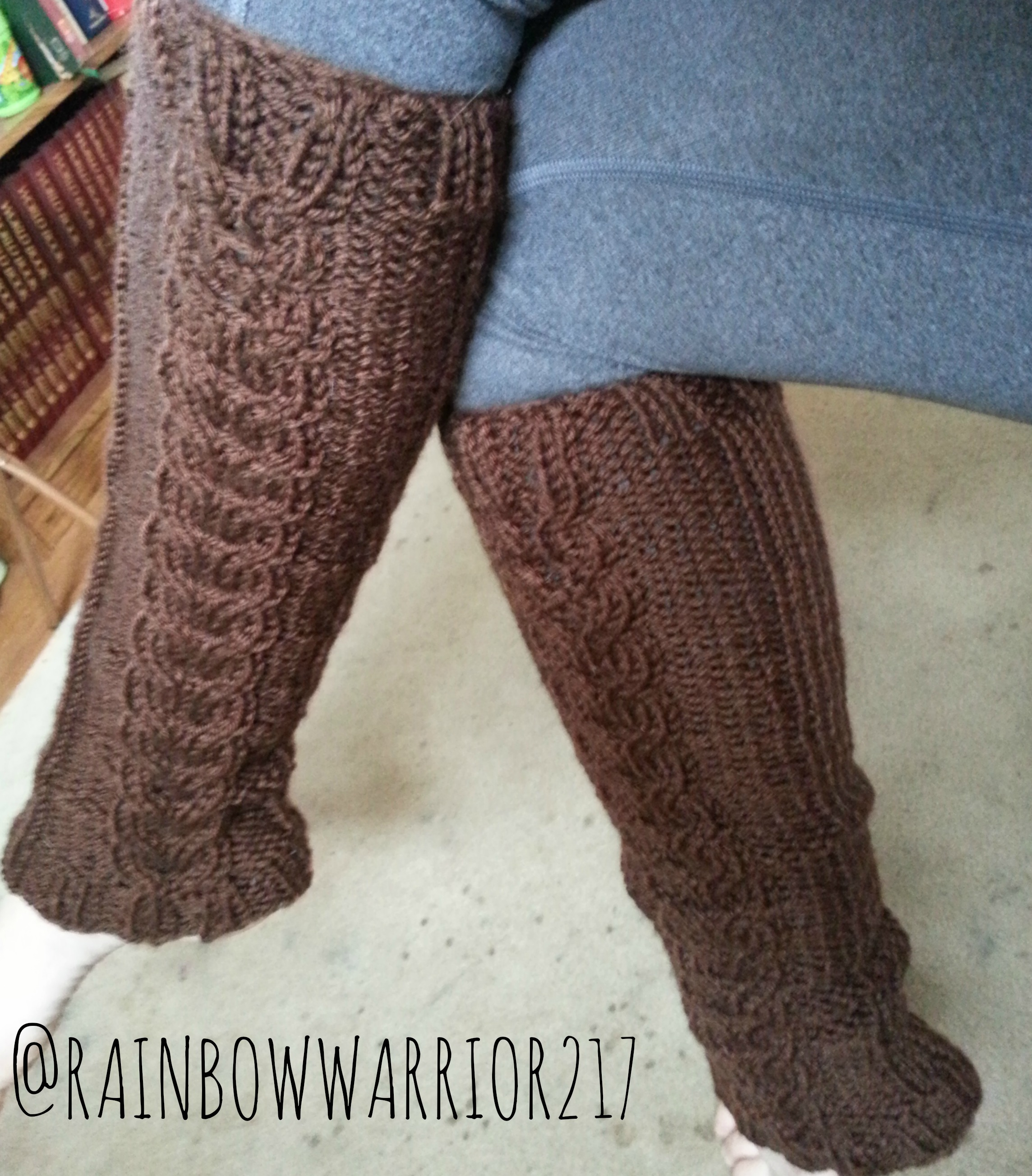 Knit Leg Warmers Cable Pattern :  Cozy  Cable Leg Warmers Knit Pattern   Rainbow Warrior
