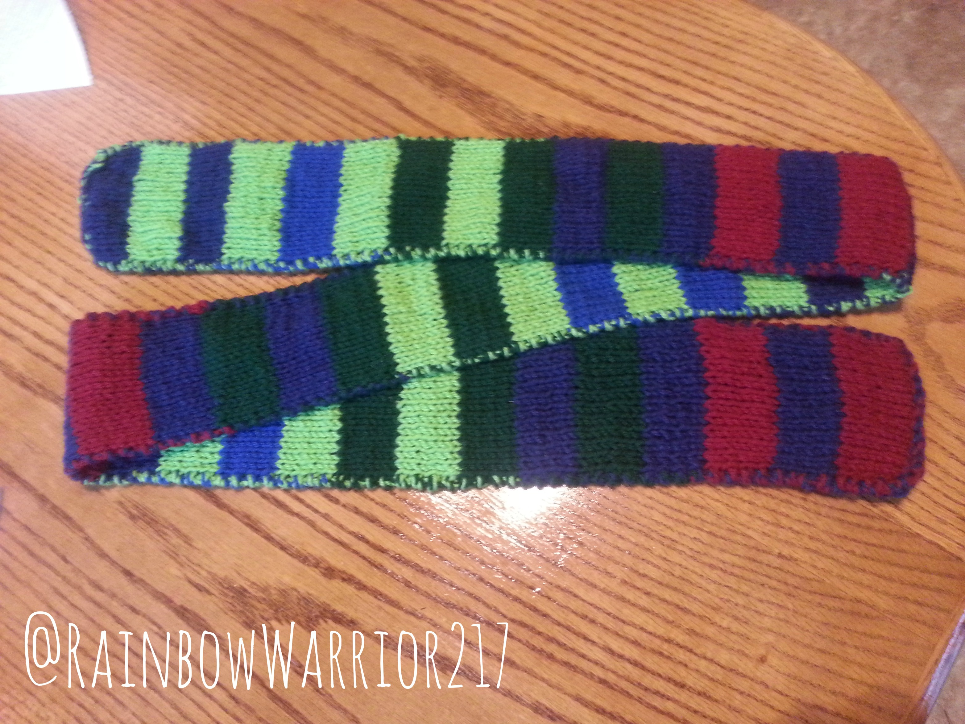 Double Knit Striped Scarf Knitting Technique Pattern Rainbow