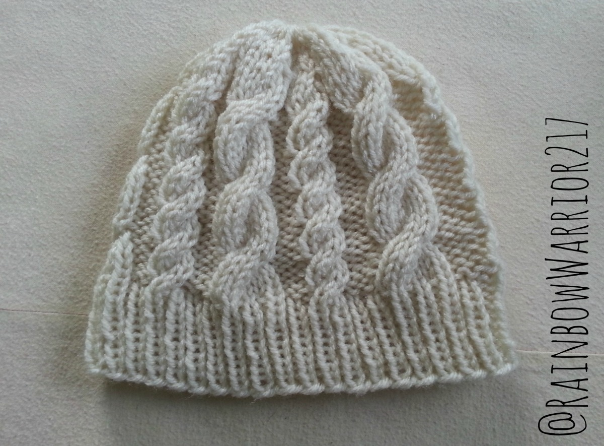 Knitting Pattern Cable Hat Easy : Cable Beanie Easy Knit Pattern & Tutorial   Rainbow Warrior